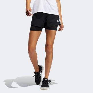 Short Adidas Pacer 3 Listras 2 Em 1 Feminino