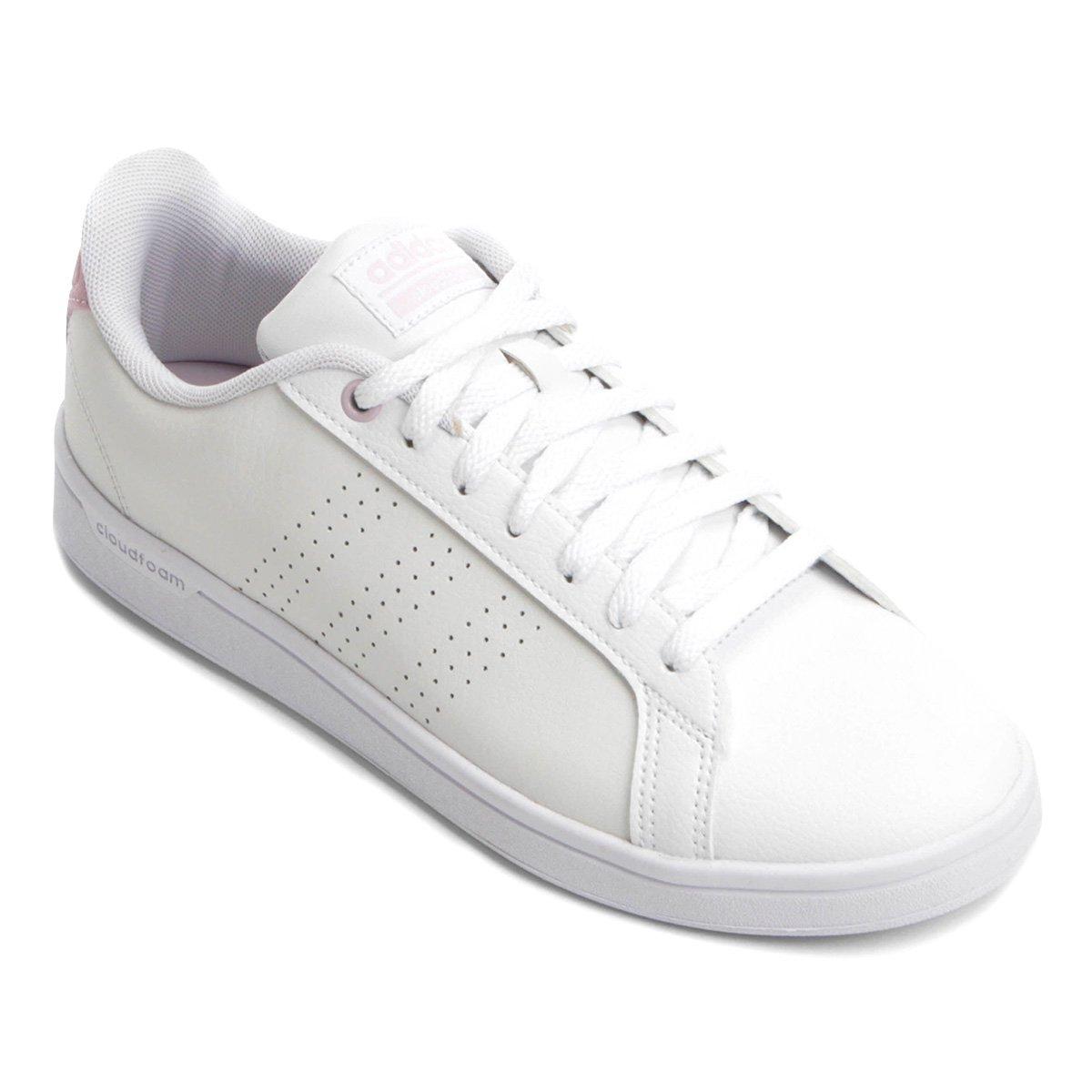 62394823a Tênis Adidas Cf Advantage Clean Feminino - Branco e Rosa - Compre Agora