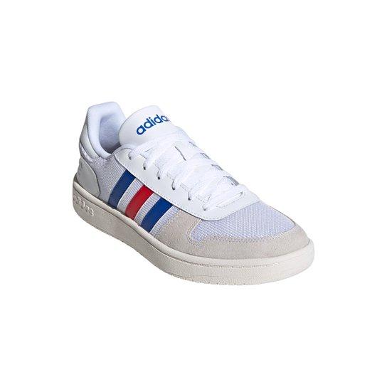 Tênis Adidas Hoops 2.0 Masculino - Branco+Azul Royal