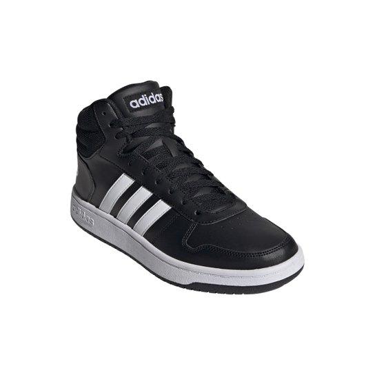 Tênis Adidas Hoops 2.0 Mid Masculino - Preto+Branco
