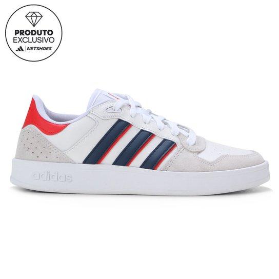 Tênis Couro Adidas Breaknet Plus Masculino - Branco+Azul