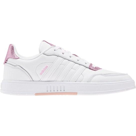 Tênis Couro Adidas Courtmaster Feminino - Branco+Rosa