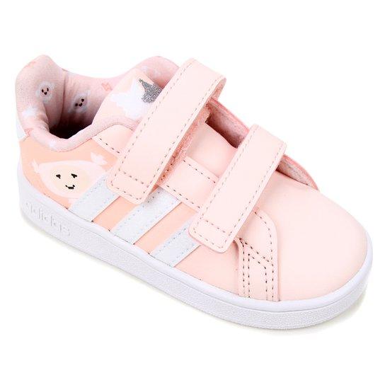 Tênis Infantil Adidas Grand Court  - Rosa+Branco