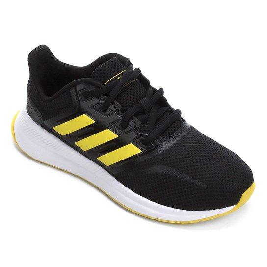Tênis Infantil Adidas Runfalcon  - Preto+Amarelo