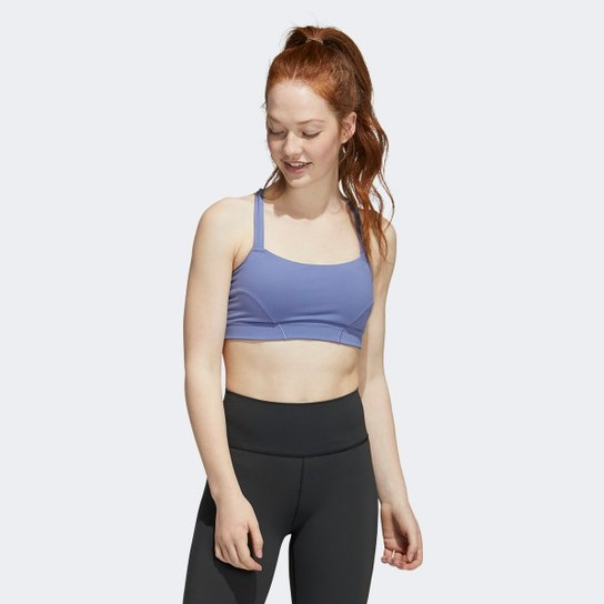 Top Com Bojo Removível Adidas Yoga - Lilás+Branco