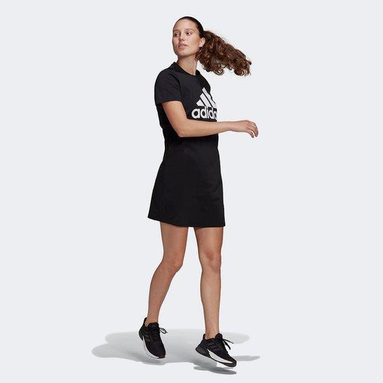 Vestido Adidas Essentials Logo - Preto+Branco