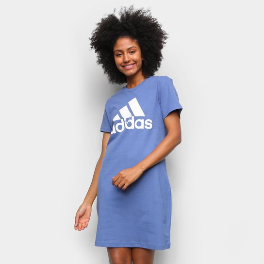 Vestido Adidas Essentials Logo - Azul+Branco